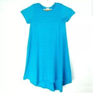 Lularoe Womens Large Dress Hi Low Striped Blue